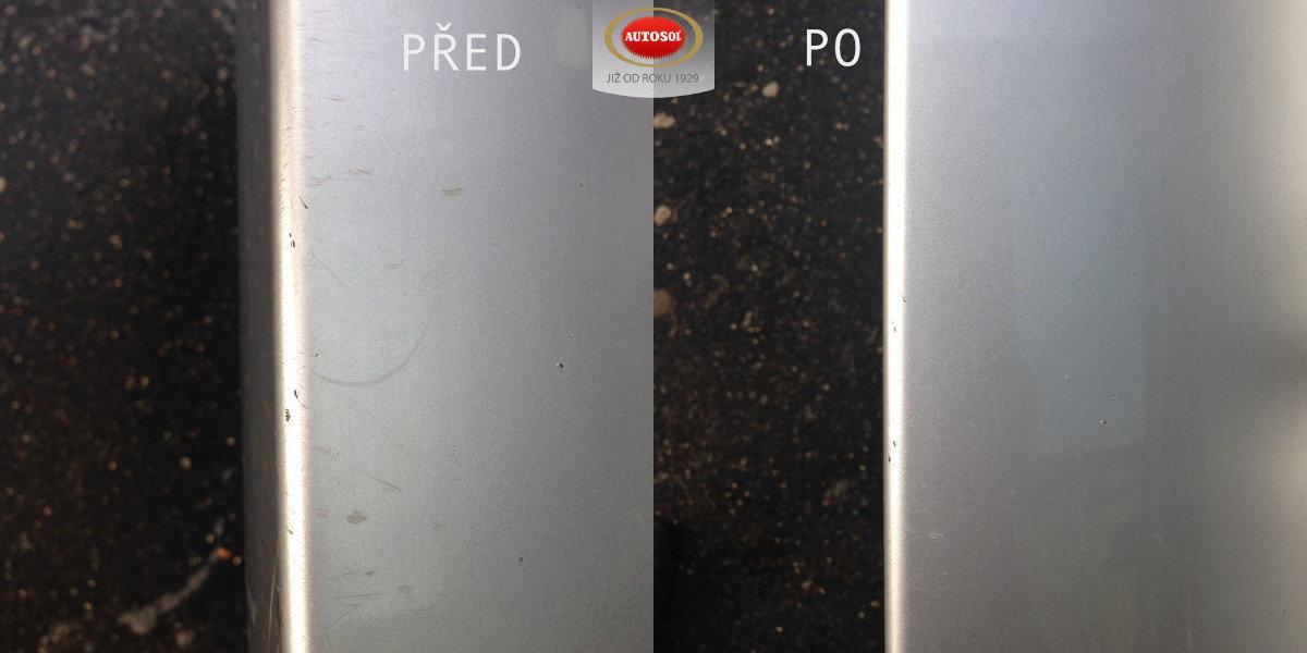 Autolak před a po použítí Autosol Scratch Remover Professional